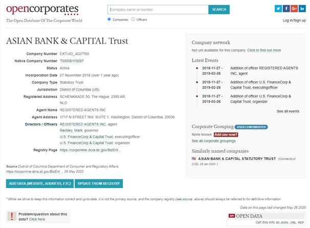 ASIAN BANK & CAPITAL Trust :: District of Columbia (US) :: OpenCorporates